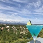 verre, cocktail, bleu